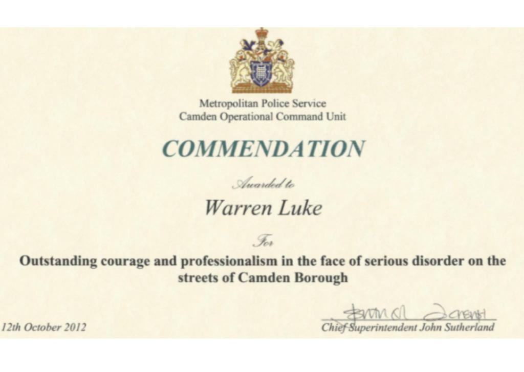 Metropolitan police commendation awarded to warren Luke