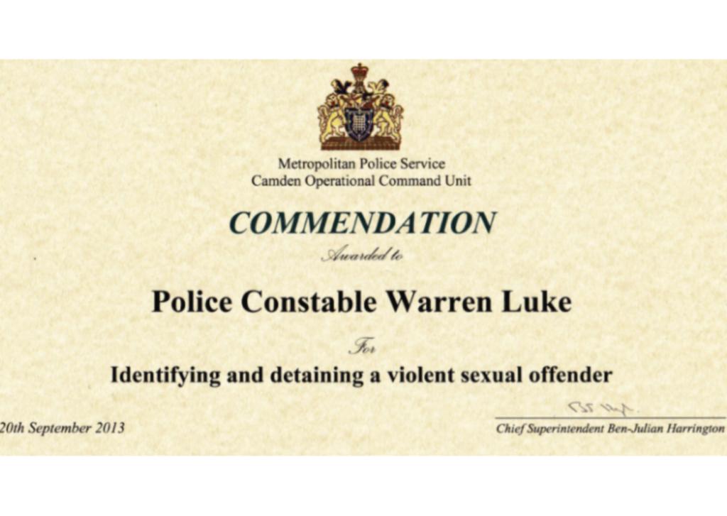 Commendation awarded to police Warren Luke